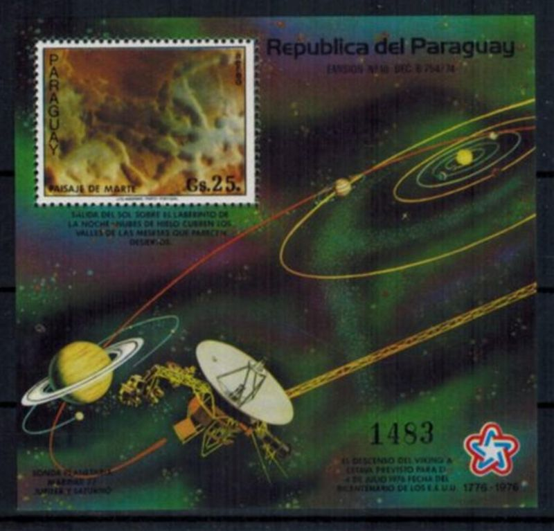 Paraguay Block 307 Weltraum Raumfahrt Projekt Viking Mars postfrsich KAT 45,00