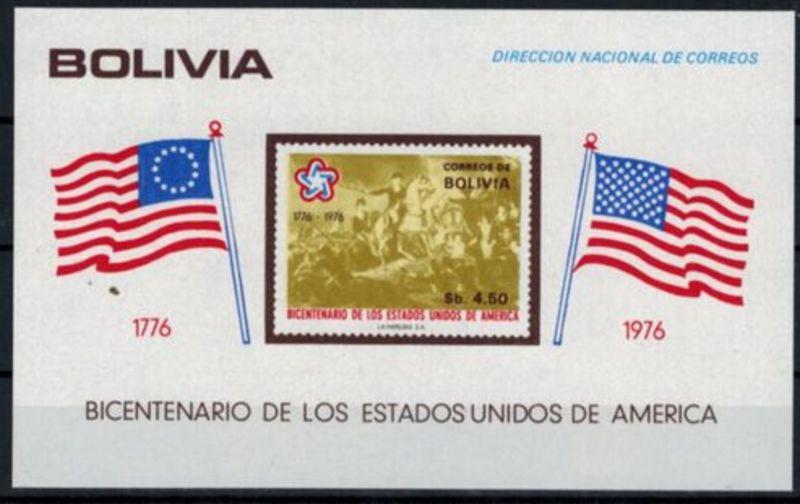 Bolivien Block 66-69 200 Jahre USA ungezähnt postfrisch MNH Kat.-Wert 45,00 1976