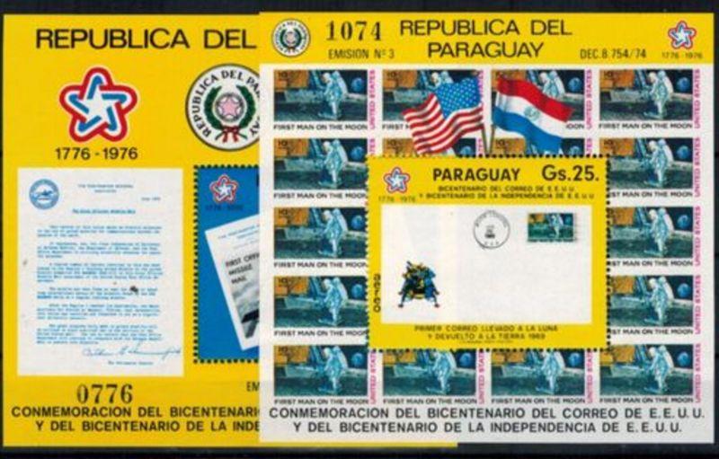 Paraguay  Block 279 + 280 Amerikanische Post Mondbrief Raketenpostbrief Kat 40,-