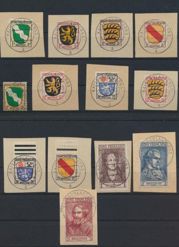 Besetzung Franz. Zone Allgemein 1-7 meist Briefstücke Kat.-Wert 250,00
