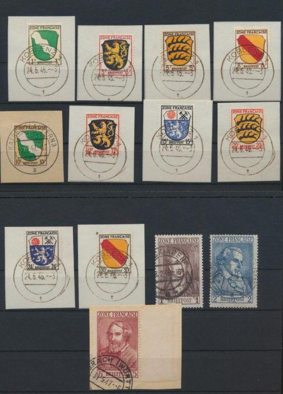 Besetzung Franz. Zone Allgemein 1-7 teils Briefstücke teils gepr Schlegel 250,00