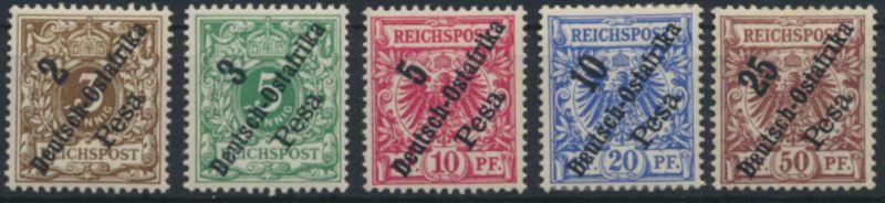 Deutsche Kolonien Deutsch-Ostafrika 6-10 Luxus ungebraucht Kat.-Wert 60,00