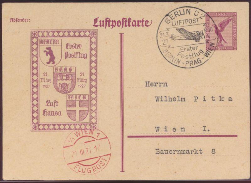 D. Reich Privatganzsache PP 89 C 3 1. Postflug Berlin Prag Wien toller Stempel