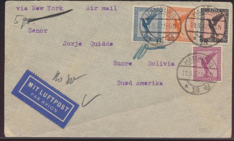 Flugpost Deutsches Reich Brief Vierfarben Adler 382 u.a. Hamburg New York USA
