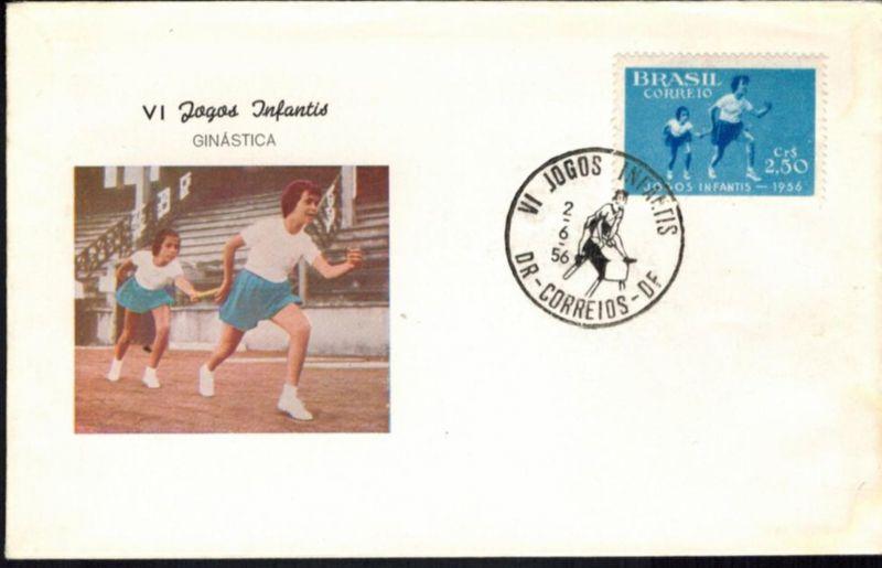 Brasilien Sport Leichtathletik Brief 1956 inter. Sonderstempel auf dekorativem