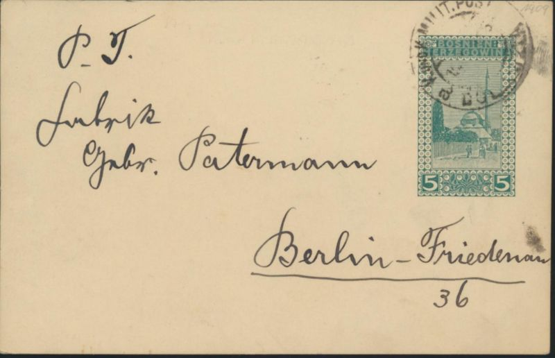 Bosnien Herzegowina Ganzsache P 13 K.u.K. Militärpost postal stationery n Berlin