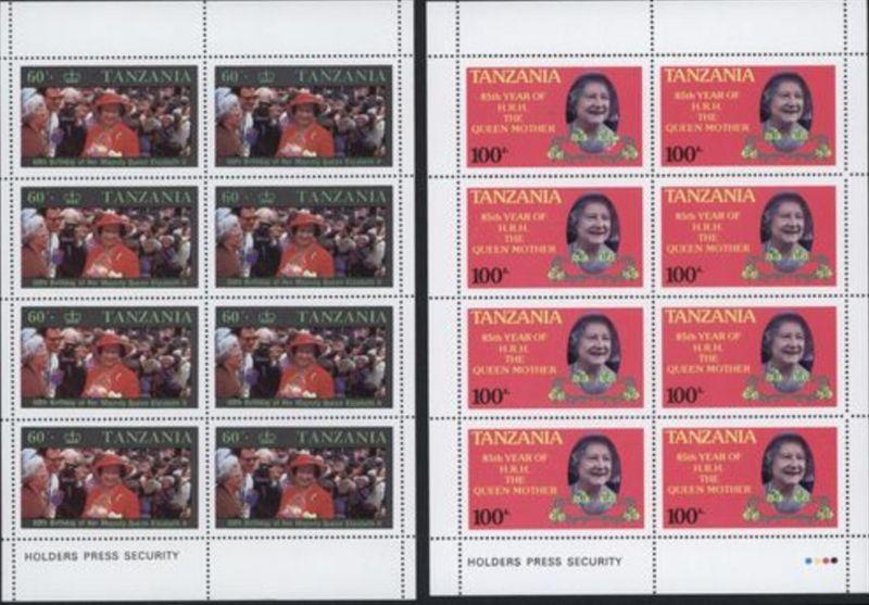 Afrika Tansania Queen Elisabeth 11 Blöcke Königliche Familie hoher Kat.-Wert