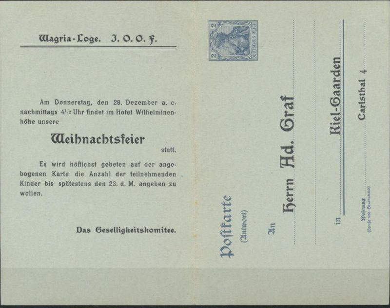Reich Privatganzsache PP 22 Frage/Antwort Wagria Loge Kiel-Gaarden Weihnachten