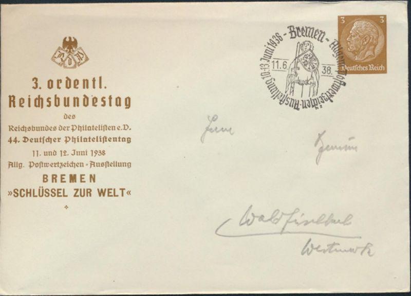 Dt. Reich Privatganzsache PU 127 44. Philatelistentag Bremen 3. Reichsbundestag