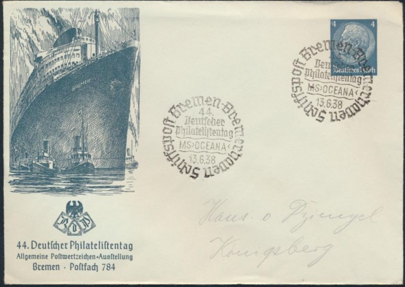 Dt. Reich Privatganzsache PU 128 44. Philatelistentag Bremen 4 Pg. Hindenburg