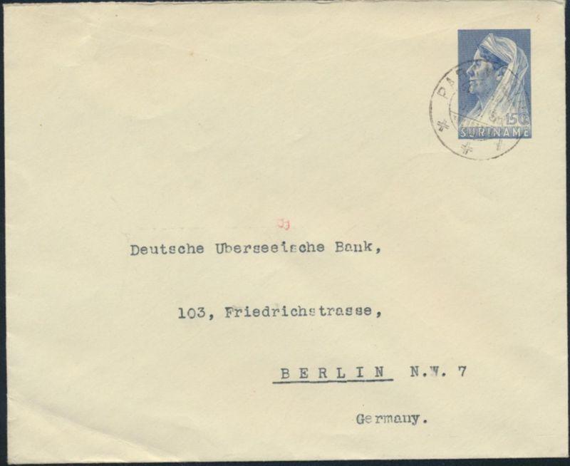 Surinam Ganzsache Umschlag 15c blau 1938 Paramaribo n. Berlin postal stationery