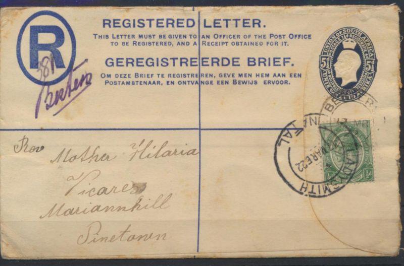 Südafrika Brief Ganzsache 3 b 5 1/2 d King Georg blau ZuF via Ladysmith Pinetown