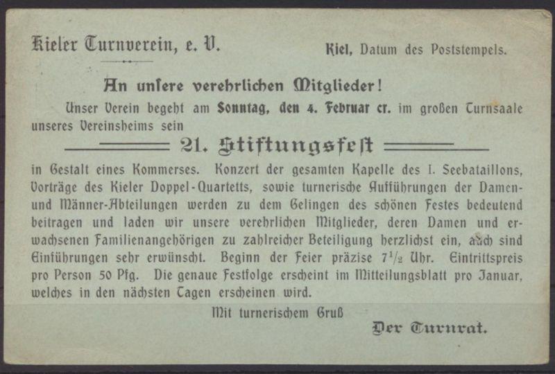 Deutsches Reich Ganzsache P 63 X Zudruck Kiel Turnverein Stiftungsfest 31.1.1906