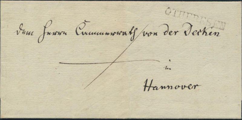 Altdeutschland Hannover Vorphila Brief L1 Othfresen nach Hannover 19.8.1839 kpl.