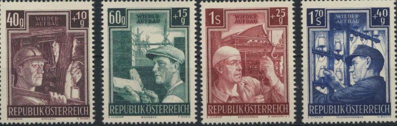 Österreich 960-963 Wiederaufbau 1951 komplett postfrisch MNH