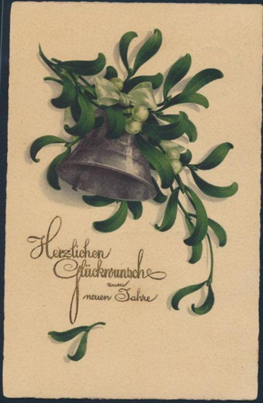Dt. Reich Anischtskarte Neujahr 339 Werbestempel Kiel Nordische Messe n. Bremen