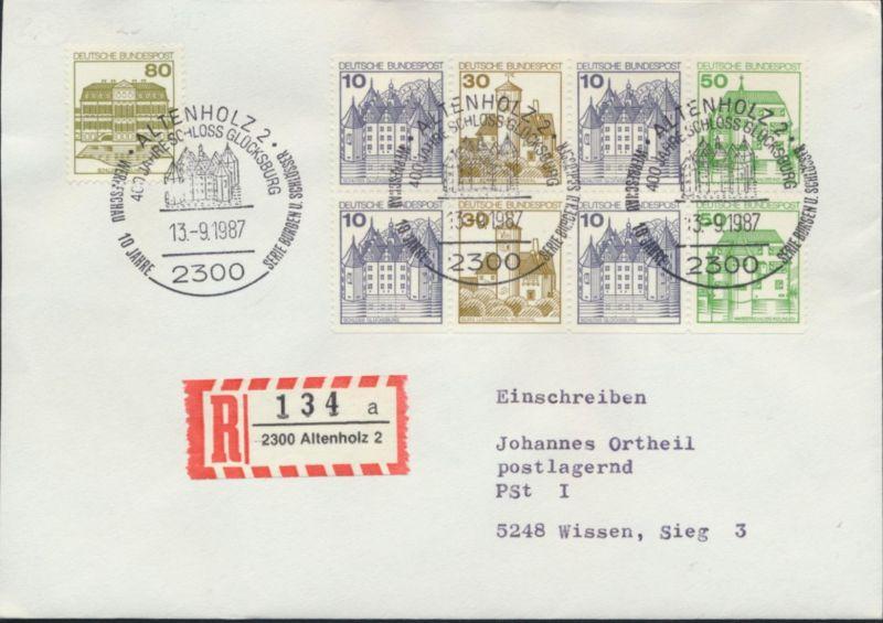 Bund Brief Einschreiben H-Blatt 27+1140 SST Altenholz 2 nach Wissen 13.9.1987