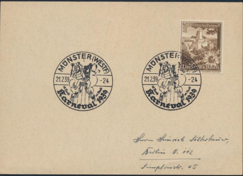 Deutsches Reich Brief 675 SST Karneval 1939 Münster nach Berlin 21.2.1939