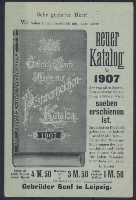 Deutsches Reich Ganzsache PZD 2 X Senf Leipzig Katalog 1907 nach Karlsruhe