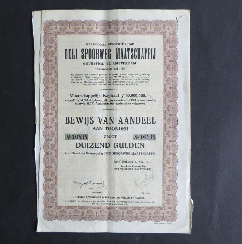 Wertpapier Aktie Share Niederlande Sumatra Deli Spoorweg Maatschappij Eisenbahn