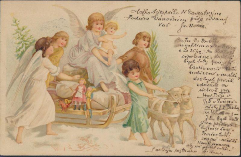 Ansichtskarte Jugendstil Litho Engel Schafe Spielzeug Schlitten Österreich