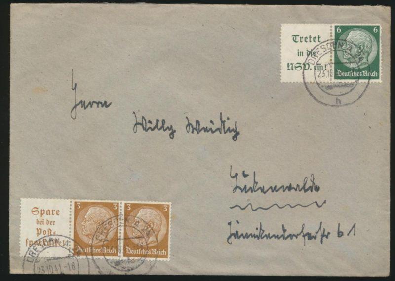 Deutsche Reich Brief Zusammendrucke Dresden 23.10.1941