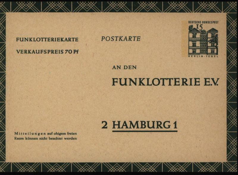 Bund Ganzsache FP 11 Funklotterie 15 - 70 Pfg. Bauwerke Berlin-Tempelhof ungebr.