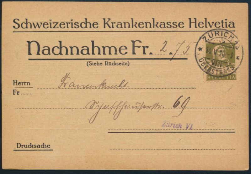 Schweiz Brief Vordruck Nachnahmekarte EF 139x 13c Tell Zürich 1920