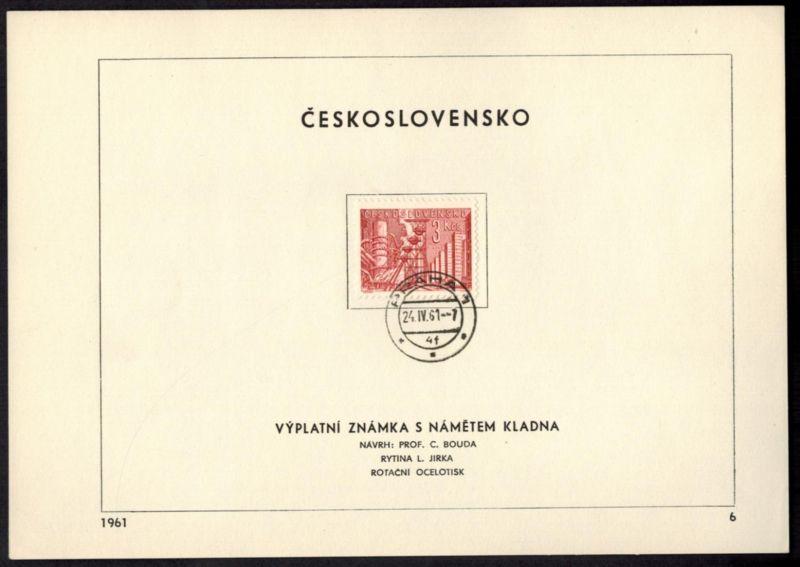 CSSR Tschechoslowakei 1268 Sonderblatt mit Ersttagsstempel 1961 - Nr. 6
