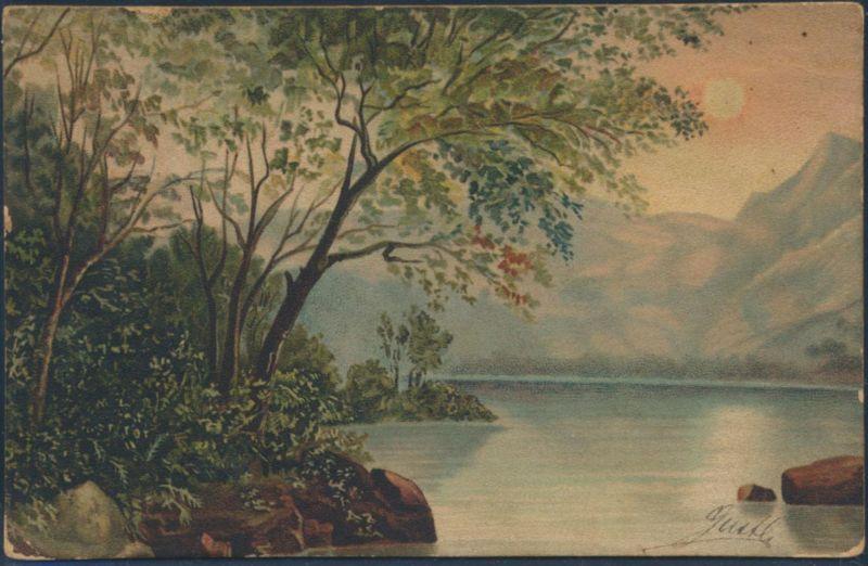 Ansichtskarte Künstlerkarte Gurth Romantsiche Seelandschaft Wald Sonnenschein
