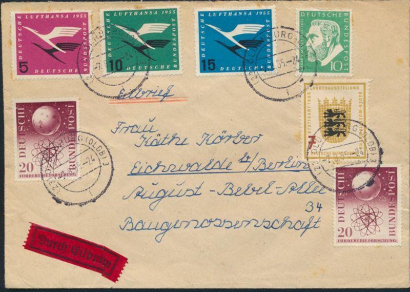 Bund Brief Eilzustellung 205-207+209+212+214 Oldenburg nach Eichwalde 7.8.1955