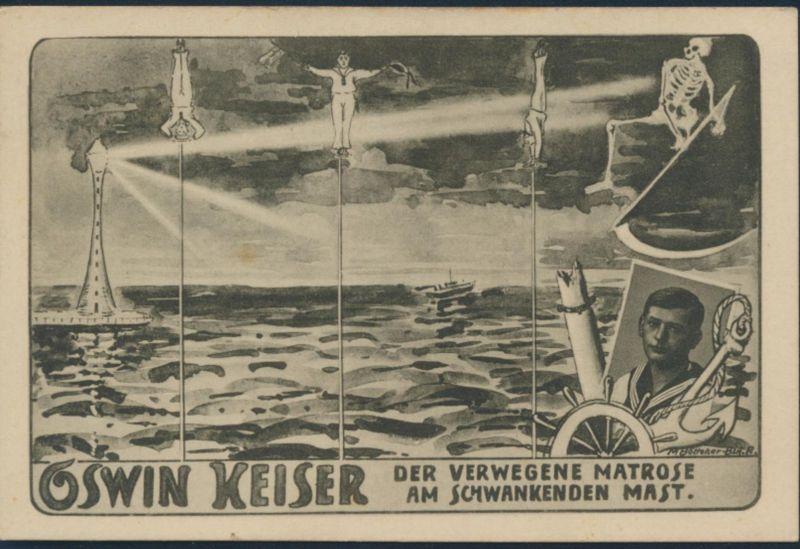 Ansichtskarte Oswin Keiser Der verwegene Matrose am schwankenden Mast Seepost