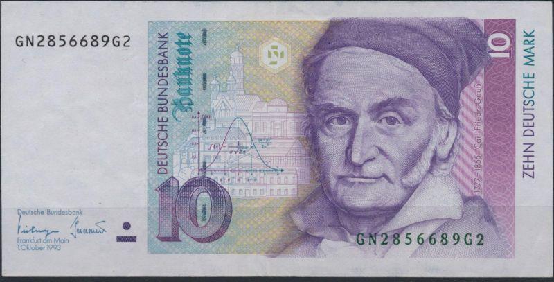 Geldscheine Banknote Bund Germany 10 DM P-38c 1993 sehr schön VF