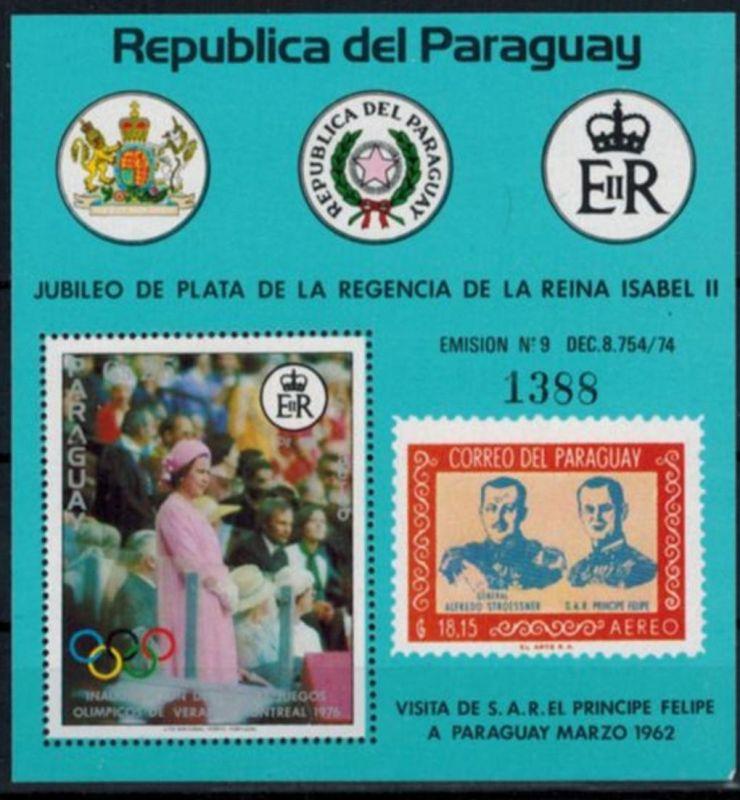 Paraguay Blockausgabe 25 Jahre Regentschaft Königin Elizabeth II. postfrisch