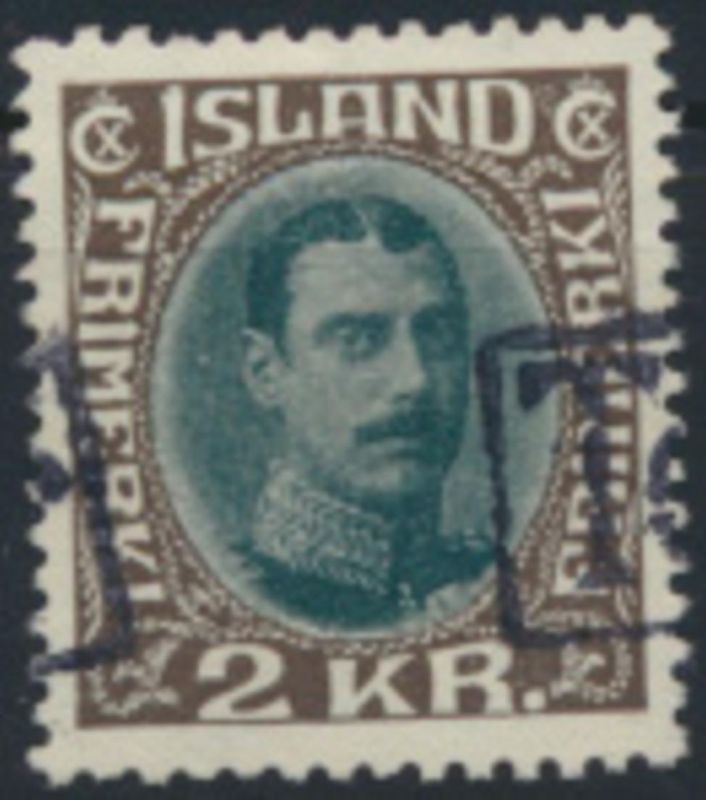 Island 166 gestempelt 2 Kr König Christian X. Tollur-Stempel