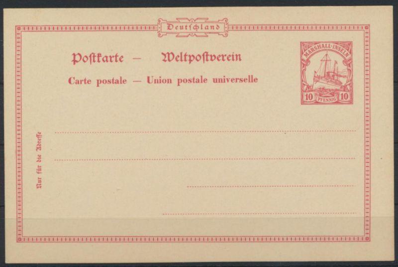 Deutsche Kolonien Marshall-Inseln Ganzsache P 12 Kaiseryacht Schiffszeichnung