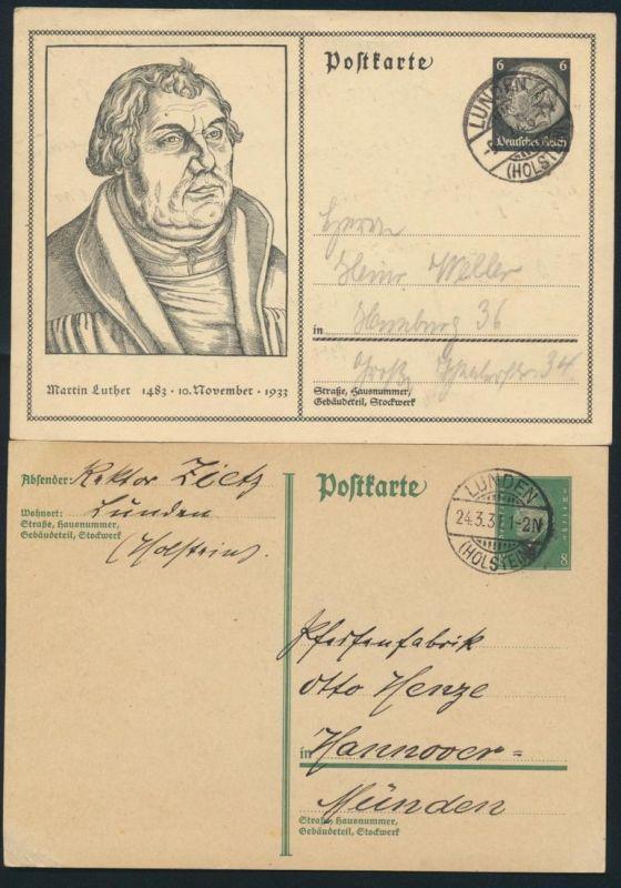 Deutsches Reich 2 Ganzsachen P 181 I und 224 ab Lunden Schleswig Holstein