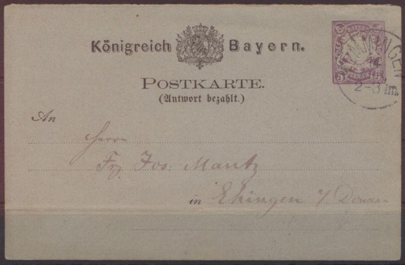 Bayern Ganzsache P 20 A 5 Pfennig Antwort Wappen Memmingen nach Ehingen