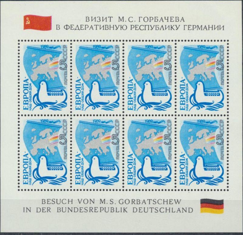 Sowjetunion 5955 Kleinbogen 5K Europa unser gemeinsames Haus postfrisch