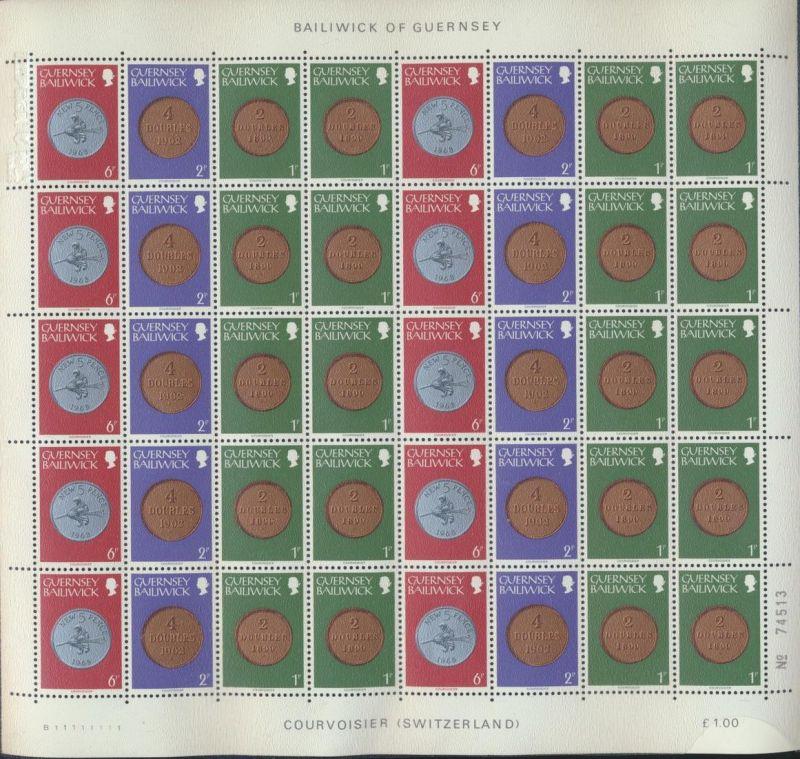 Zusammendruckbogen Guernsey ex 174-178 ** Münzen 1979