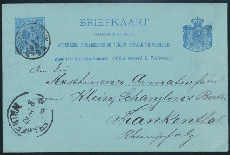 Niederlande Ganzsache P 20 via Bahnpost UTRECHT STATION nach Frankenthal 1895