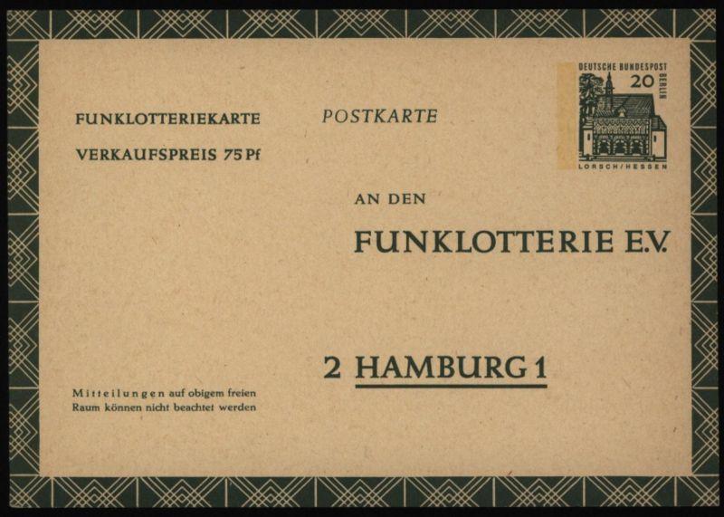 Berlin Ganzsache FP 8 20 Pfg. Funklotterie Bauwerke ungebraucht 1965