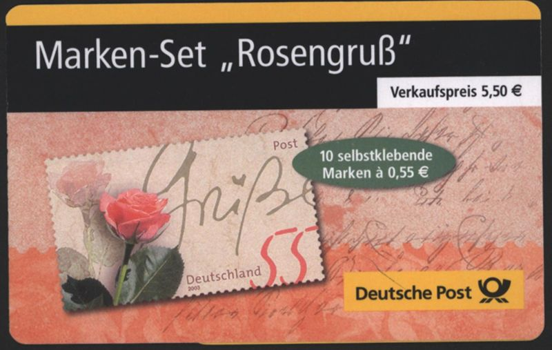 Bund Markenheftchen MH 51 a Rosengruß 2003 Ersttagsstempel FRANKFURT