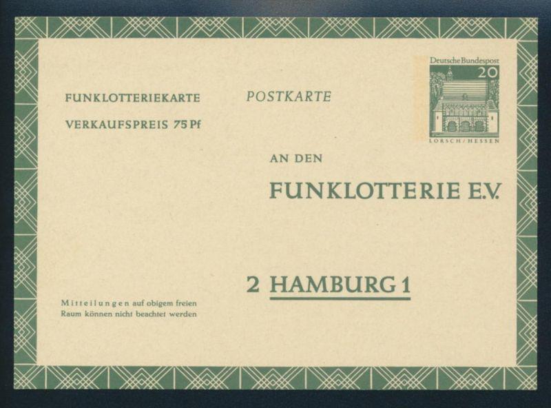 Bund Ganzsache FP 13 Funklotterie 20 - 75 Pfg. Bauwerke ungebraucht