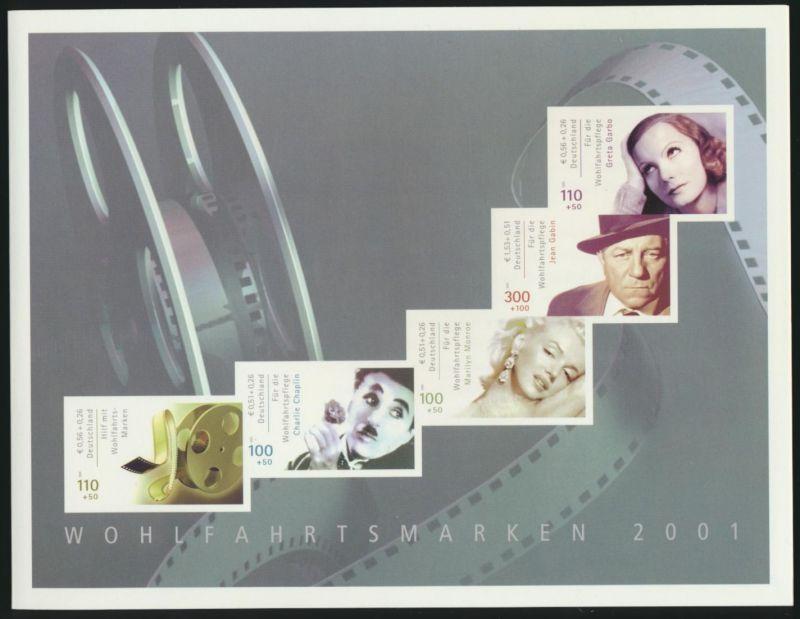 Bund MH 46 Wohlfahrt Internationale Schauspieler 2001 Luxus postfrisch Kat 20,00
