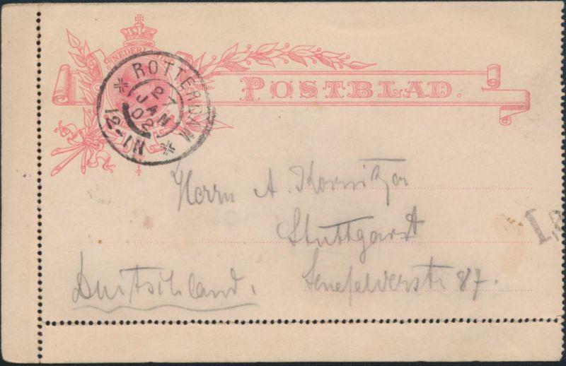 Niederlande Ganzsache Kartenbrief K 5 12 1/2 c. Wilhelmine Rotterdam Stuttgart
