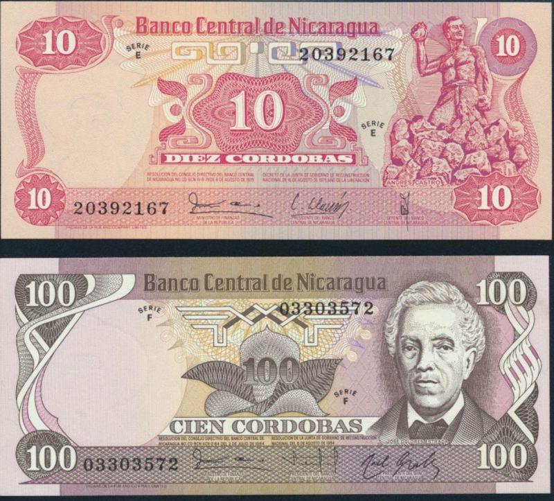 Geldschein Banknote Nicaragua P-134/141 10+100 Cordobas Serie E+F bankfrisch UNC