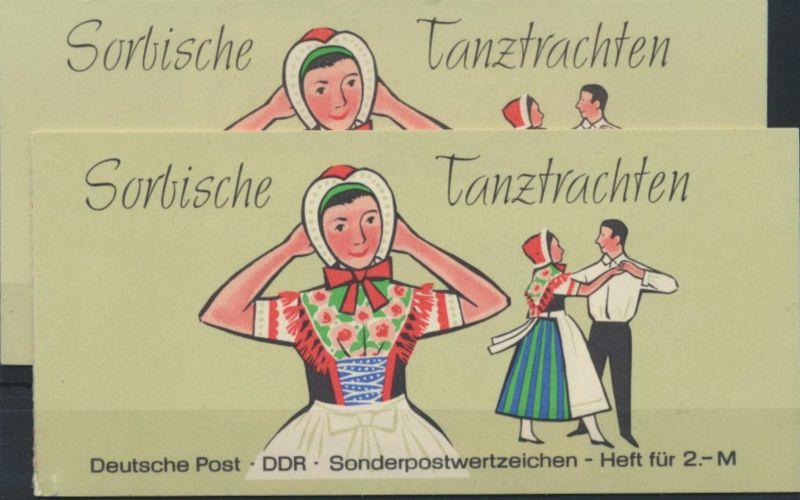 2x DDR Markenheftchen 5 I 1a Sorbische Tanztrachten 1971 postfrisch ** 4+5 Orna.