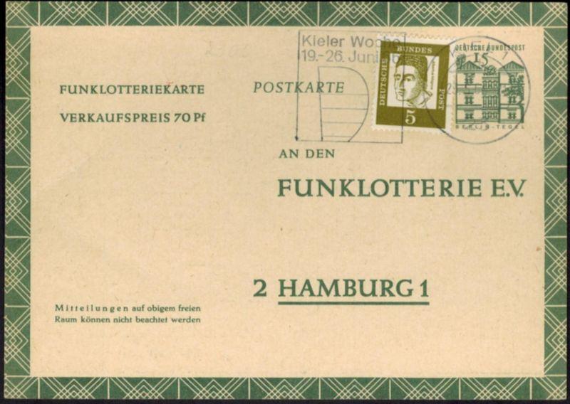Bund Ganzsache FP 11 mit ZUF Werbestempel Kiel nach Hamburg 23.5.1966