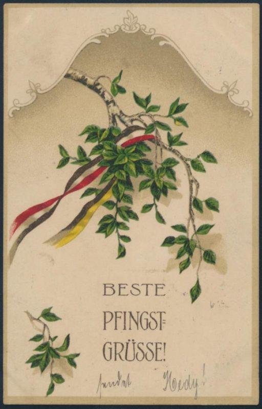 Ansichtskarte Litho Feldpost Frankfurt nach Leberau 1916 Pfingstgrüße